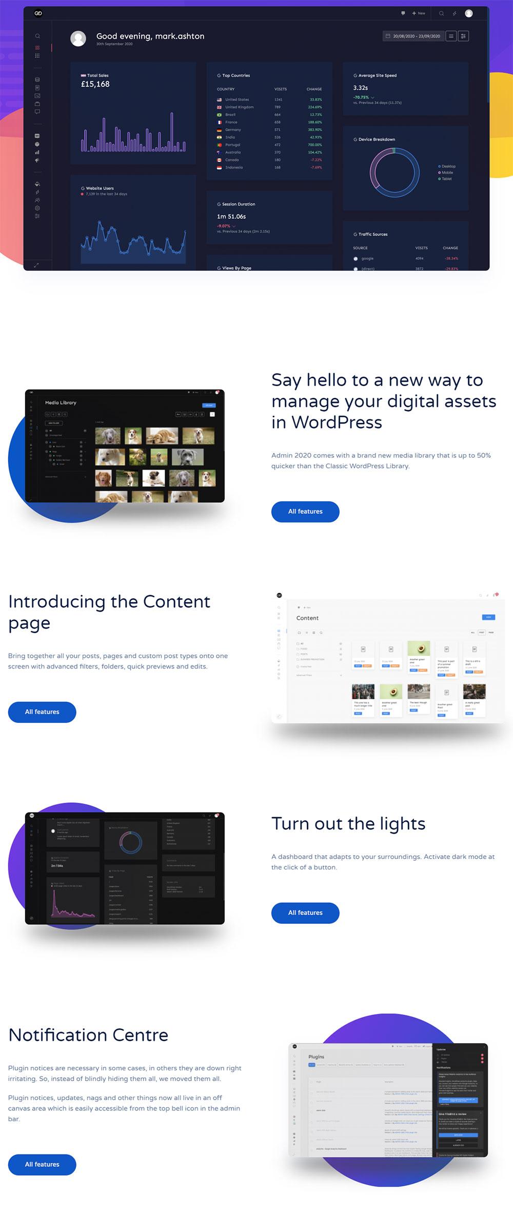 Admin 2020 - WordPress Dashboard Plugin