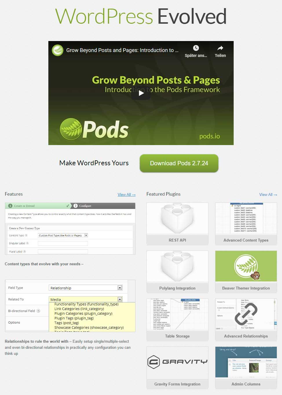 Pods - WordPress Dynamic Content Plugin