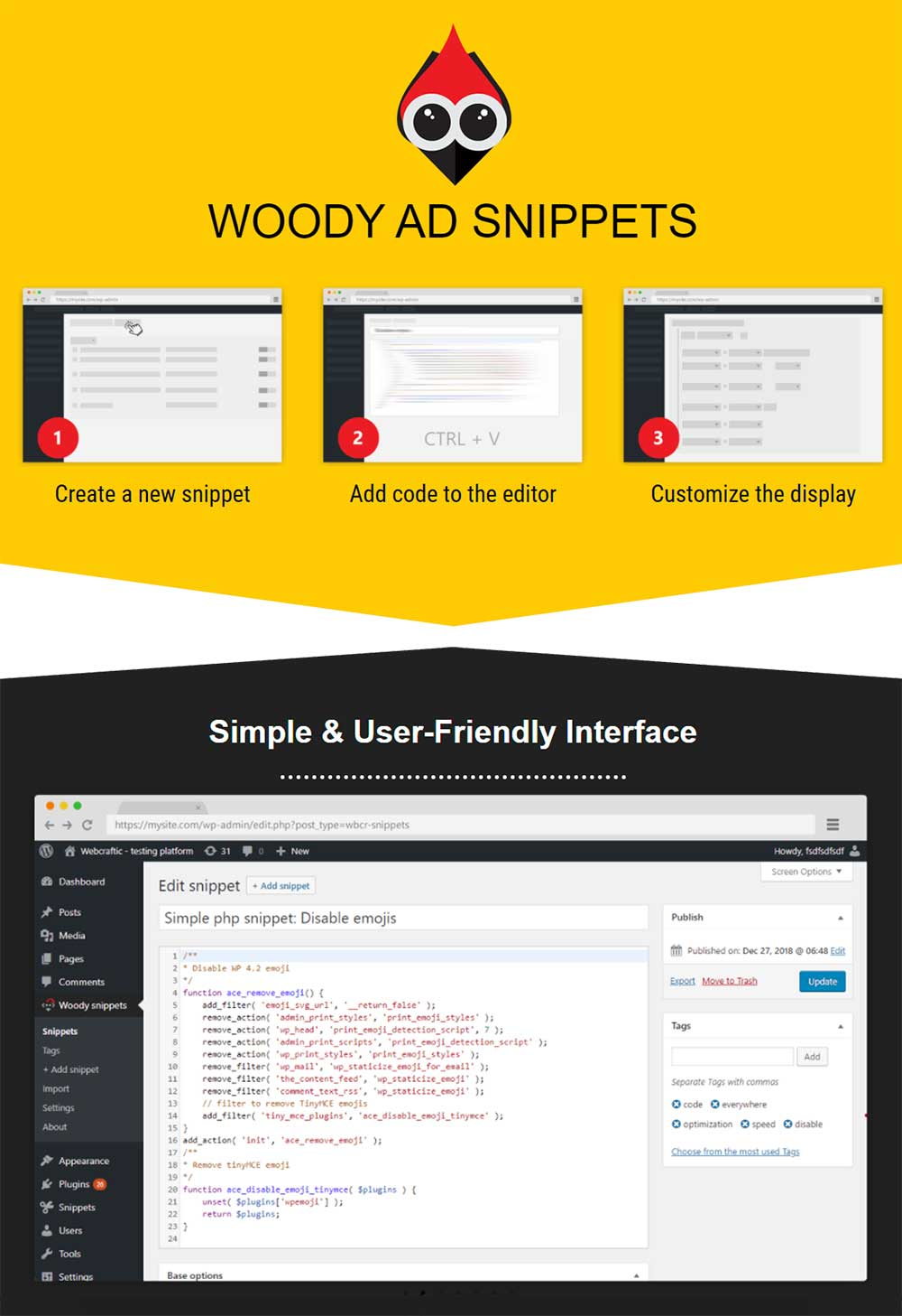Woody ad snippet - WordPress Insert PHP Plugin